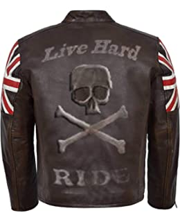 Herren Designer UK Flagge Vintage Cafe Racer Braun Biker-lederjacke