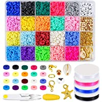 4000 Pcs Clay Beads 6mm 20 Colors Flat Round Polymer Clay Spacer Beads with Pendant Charms Kit and 4 Roll Elastic…