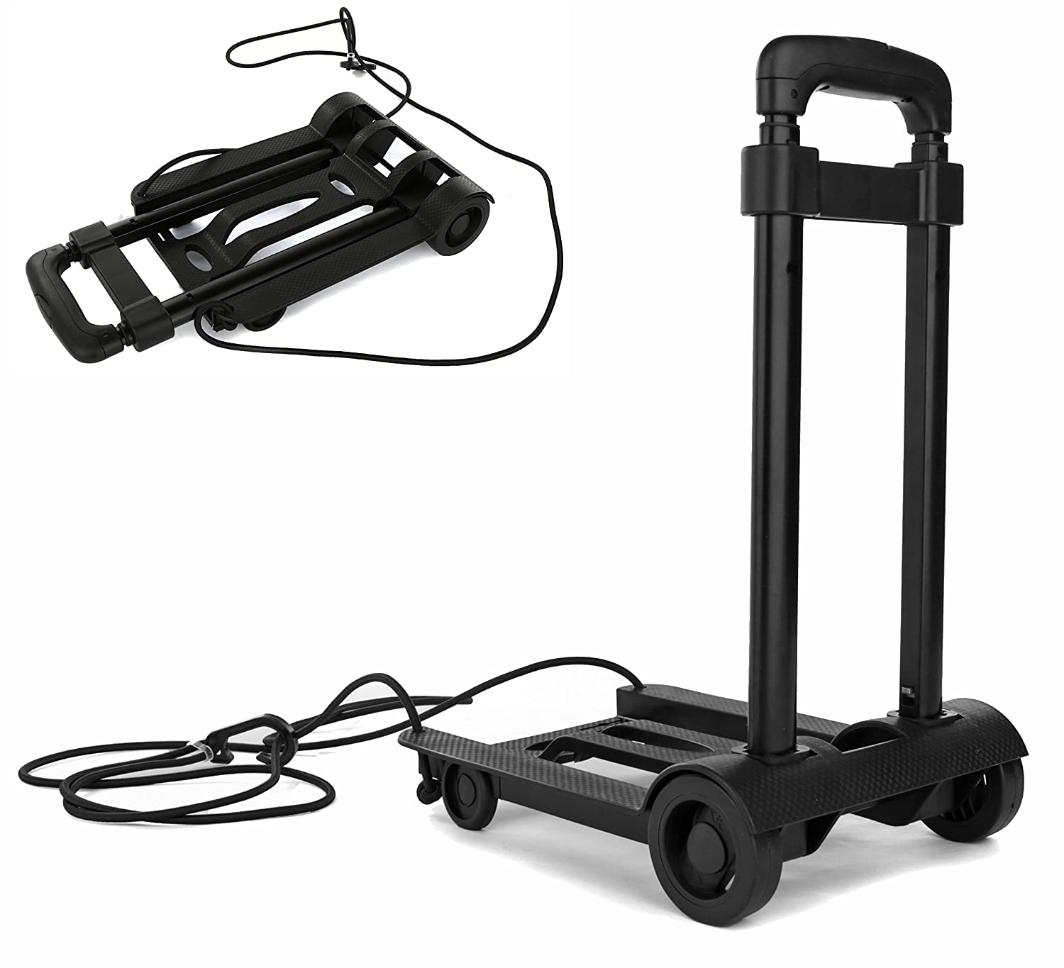 Folding Compact Lightweight Durable Luggage Cart Travel Trolley | Quiet Wheeling Sports & Medical Equipment Carrier 10457479