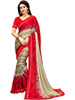 Lajree Designer Georgette Saree With Blouse Piece (Fba 3010_Red_Free Size)