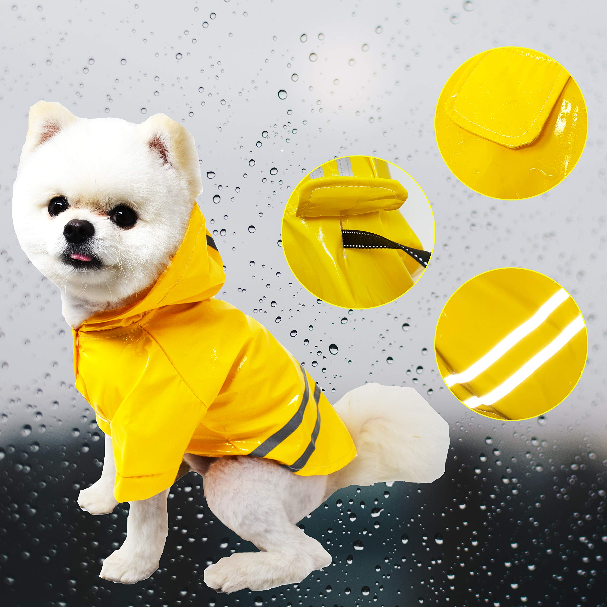 Cutie Pet Dog Raincoat Waterproof Coats for Dogs Lightweight Rain Jacket Breathable Rain Poncho Hooded Rainwear with Safety Reflective Stripes (M, Yellow) by Cutie Pet