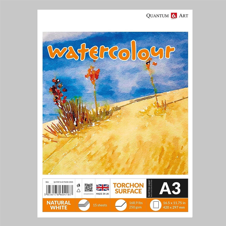 Watercolour TORCHON Surface Pad Drawing Artist Paper GUMMED Book - 250gsm (A4-297x210 mm) Quantum Art
