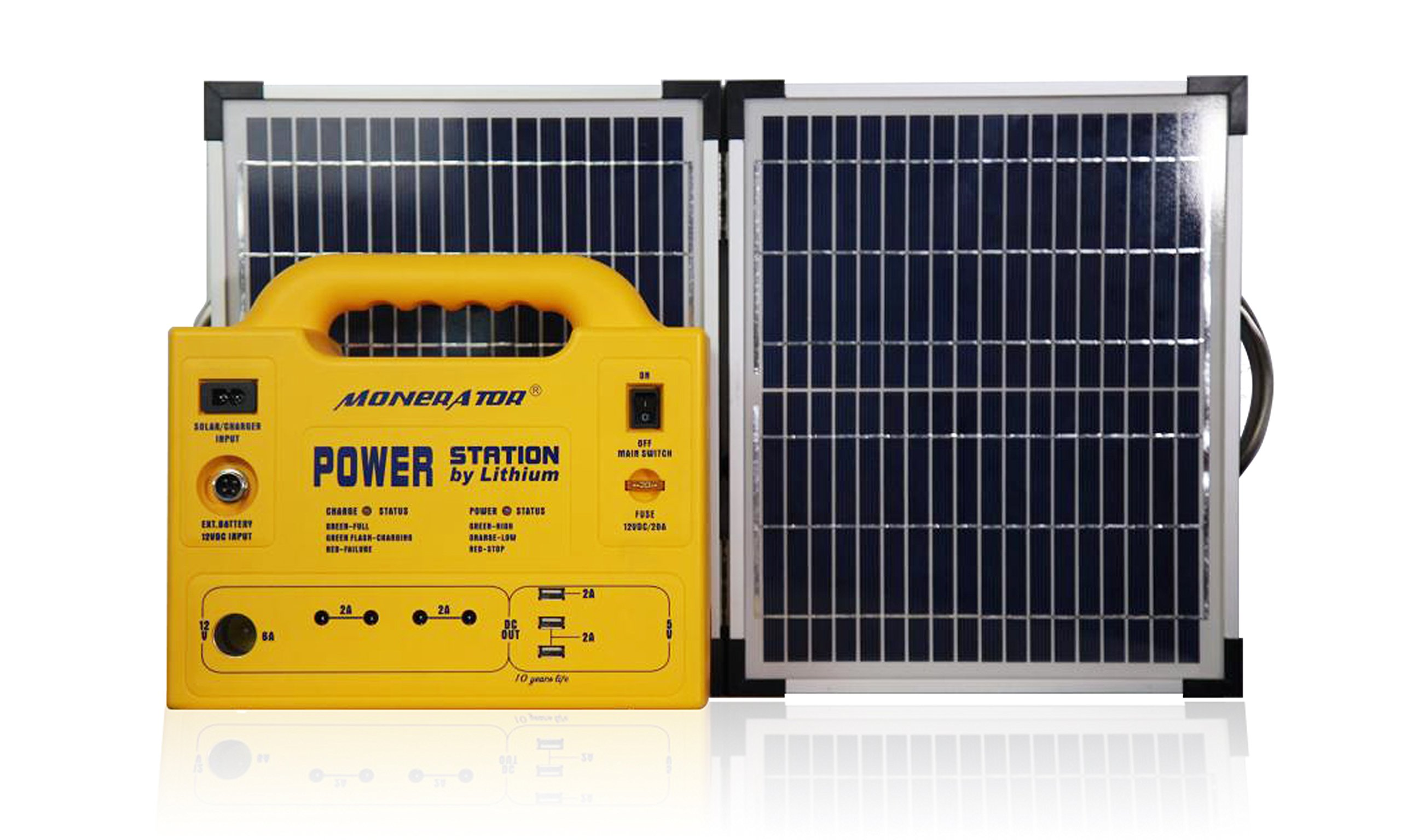 Portable Solar Generator Power Station 256 Wh/250 W with Dual 12V DC/110V AC Output, USB, Lamps & Cigarette Lighter Ports Ideal for Emergency, Camping & Outdoor Activities – Monerator Gusto 20