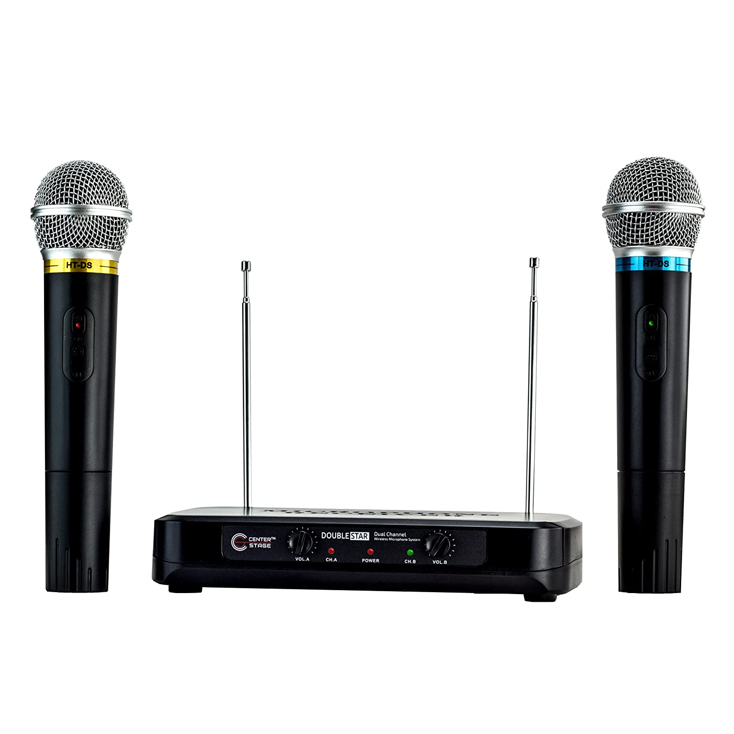 CenterStage DoubleStar- Dual Handheld Wireless Microphone System- Easy Plug And Play Set Up- From Family Karaoke to Professional Performances Nady