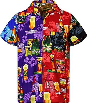 Funky Camisa Hawaiana Señores | XS -12XL | Manga Corta | Bolsillo Delantero | impresión De Hawaii| Botella de Cerveza | Multicolor: Amazon.es: Ropa y accesorios