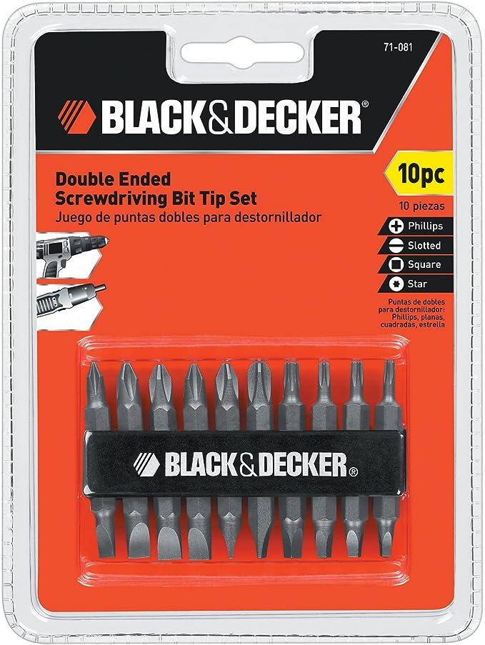 BLACK+DECKER Screwdriver Bit Set, Double Ended, 10-Piece - Cordless Screwdriver - Amazon.com