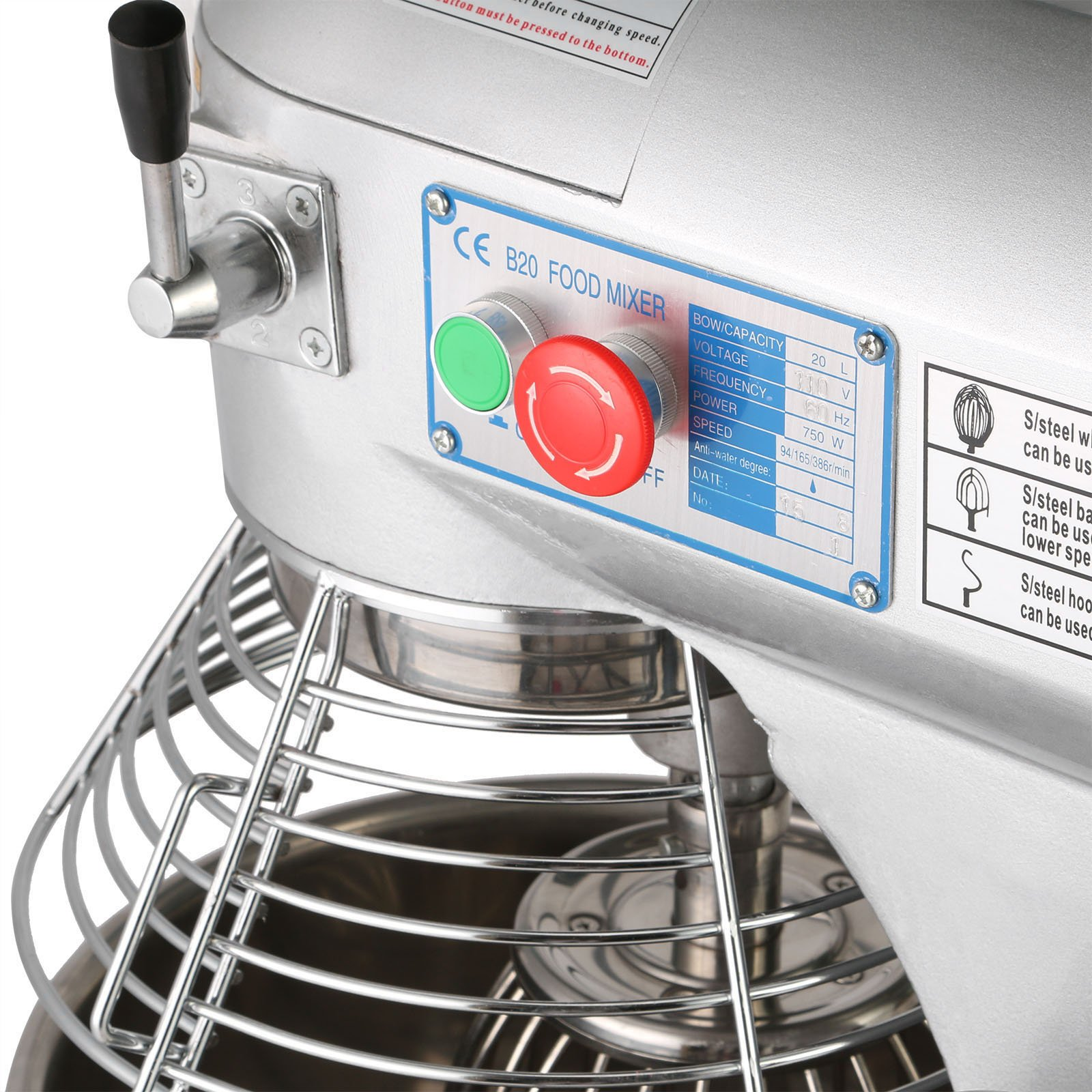 Happybuy Commercial Food Mixer 750W Dough Mixer Maker 3 Speeds Adjustable Commercial Mixer Grinder 94/165/386 RPM Stand Mixer (20 qt) by Happybuy (Image #4)
