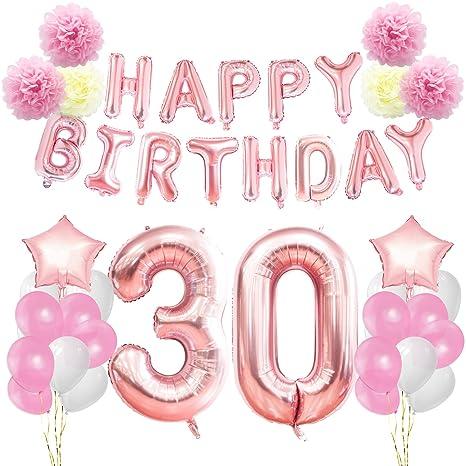 KUNGYO Decoraciones de Feliz Cumpleaños 30 Oro Rosa Happy Birthday Bandera Gigante Número 30 y Estrella de Helio Globos Cintas Flores de Papel Pom ...