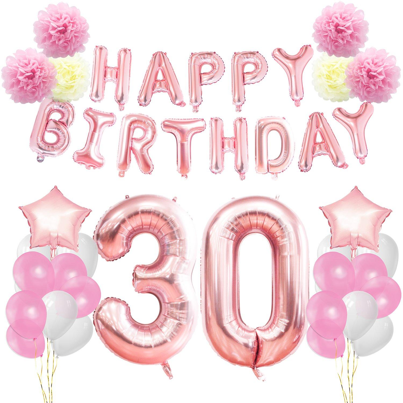 KUNGYO 30th Birthday Decorations Kit Rose Gold Happy