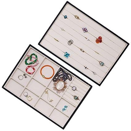 Expositor para joyas anillo organizador bandejas apilables de almacenamiento lienzo