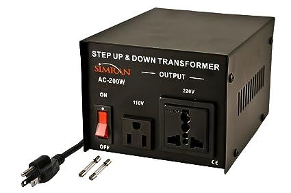 Simran AC-200 Step Up Down Voltage Converter Transformer, 200 Watt, Black