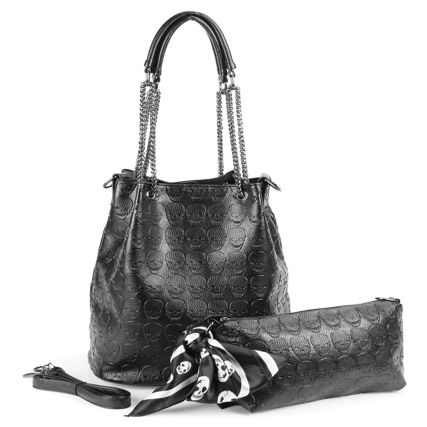 fee4391f6246 Amazon.com  Womens Skull Hobo Tote Bag Chain Shoulder Bag Gothic Handbag  Set  Shoes