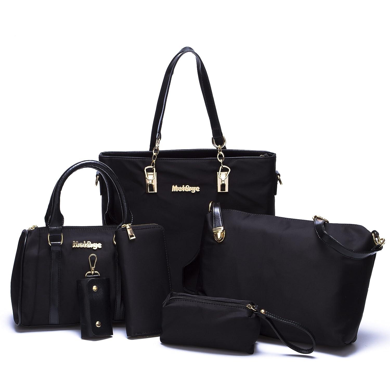 BAIGIO Women Tote Top Handle Shoulder Bags Satchel Purse Handbags (Black)
