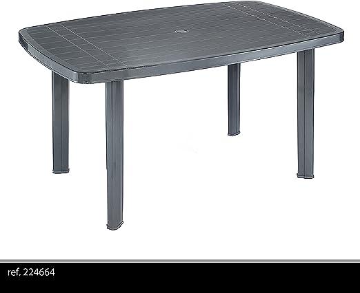 Mesa de jardín resistente 138 x 87 cm plástico – Mesa de plástico Jardín muebles camping – Antracita: Amazon.es: Jardín