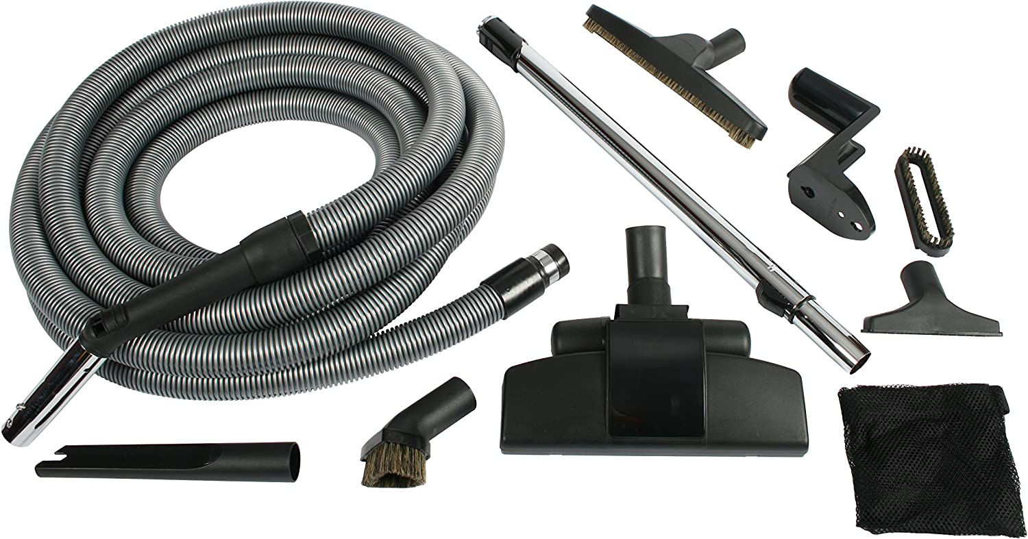 Cen-Tec Systems 91442 Complete Home Central Vacuum Accessory Kit with Chrome Telescopic Wand