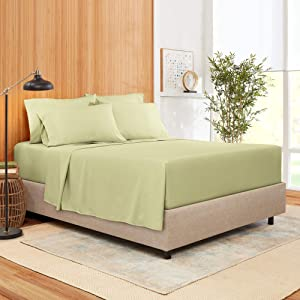 Cal King Size Sheet Set 6 Piece - Bamboo Blend Hotel Luxury Bed Sheets - Extra Soft Bamboo and Microfiber Blend - Breathable & Cooling Sheets - Wrinkle Free - Cal King – Sage Olive Green Bed Sheets