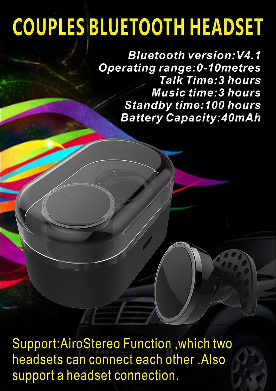 Twins True Bluetooth v4.1 HiFi Auriculares Earbuds, Lovers Stereo Wireless en Ear Auriculares Auriculares de fácil anulación Radio inalámbrico inalámbricos ...