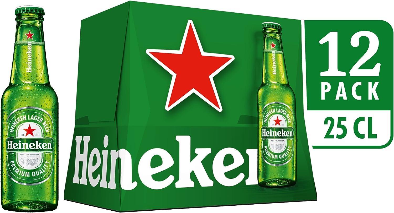 Heineken Cerveza - Pack 12 Botellas 250 ml - Total: 3 L: Amazon.es ...