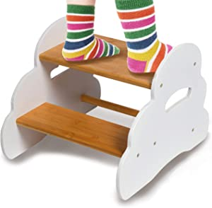 Wooden Step Stool for Kids, Modern Toddler Furniture Decor, Potty Training Stool for Children, Kitchen, Bedroom, Nursery Chair for Girls & Boys, Wide Two Step Ladder, Sturdy Bamboo Wood Foot Stool