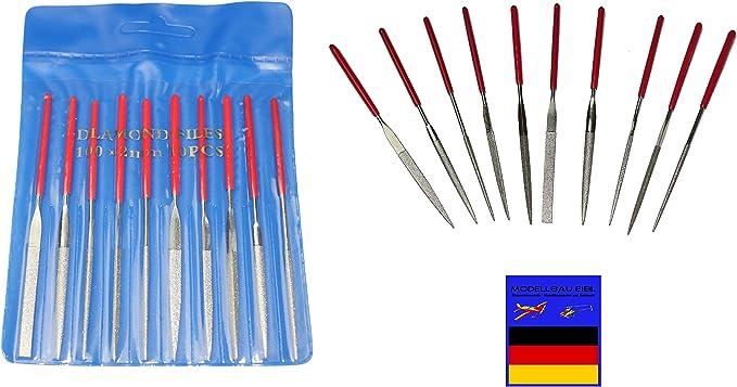 Kleine Nadelfeilen Feilenset Mininadelfeilein Feile Set 10x Modellbau 140 //180mm