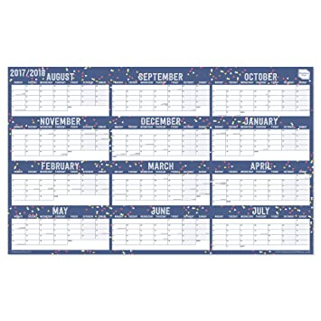 2017-2018 Academic Wall Planner calendar. Home or Office Wall ...