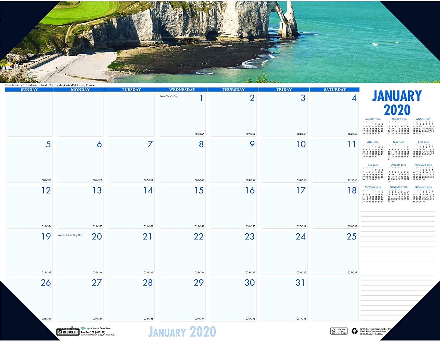 House of Doolittle 2020 Monthly Desk Pad Calendar, Earthscapes Coastlines, 22 x 17 Inches, January - December (HOD178-20)
