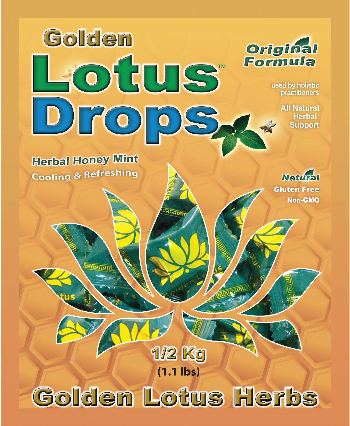 Golden Lotus Drops (Original Formula) - Non GMO (1/2 Kilo - 115 Cough Drops) by Golden Lotus Herbs