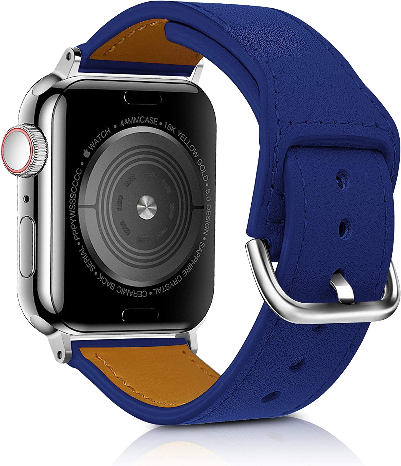Gen Sen Leather Band Compatible with Apple Watch 38mm 40mm 42mm 44mm, Genuine Leather Replacement Band Strap Compatible with Apple Watch Series 6 5 4 3 2 1, SE …
