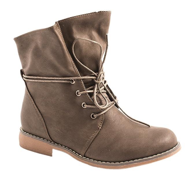 Damen Schuhe Stiefeletten Stiefel Trendy Bequem Klassisch Braun 40 Flandell Ec40GhT