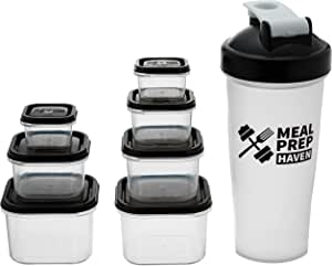 Meal Prep Haven 7 Piece Portion Control Container Kit with Guide and Protein Shaker Bottle, Black Lids