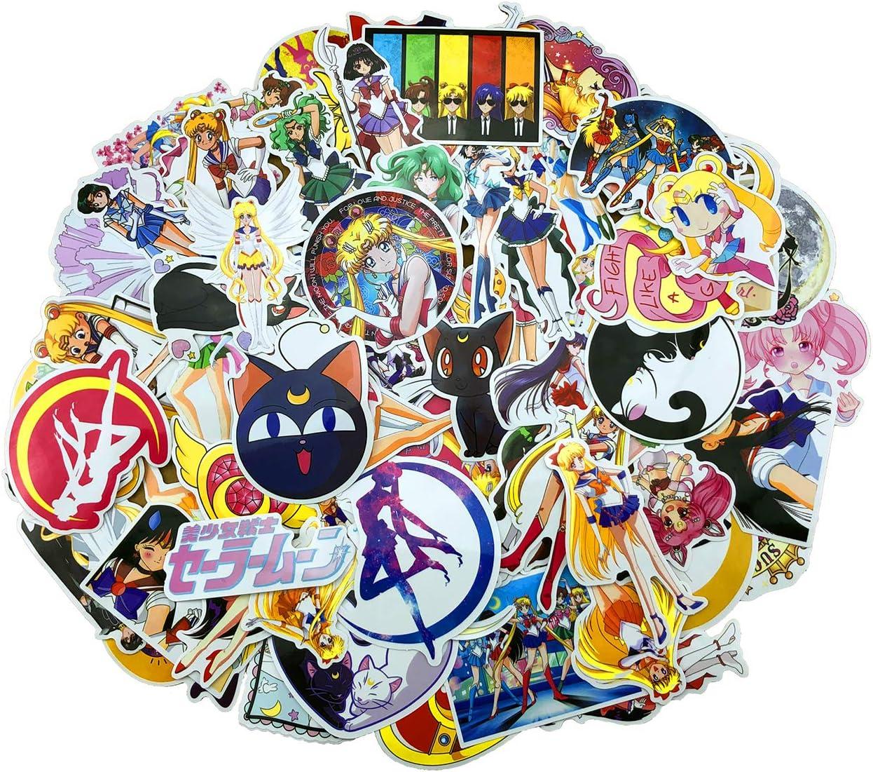 84PCS Sailor Moon Sticker Cool Vinyl Decals, Kid Adult Children Clear Stickers No-Duplicate Waterproof Decal for iPhone Mac Book Bottle Skateboard Guitar Case Car Bike Bumper Luggage Door Decoration