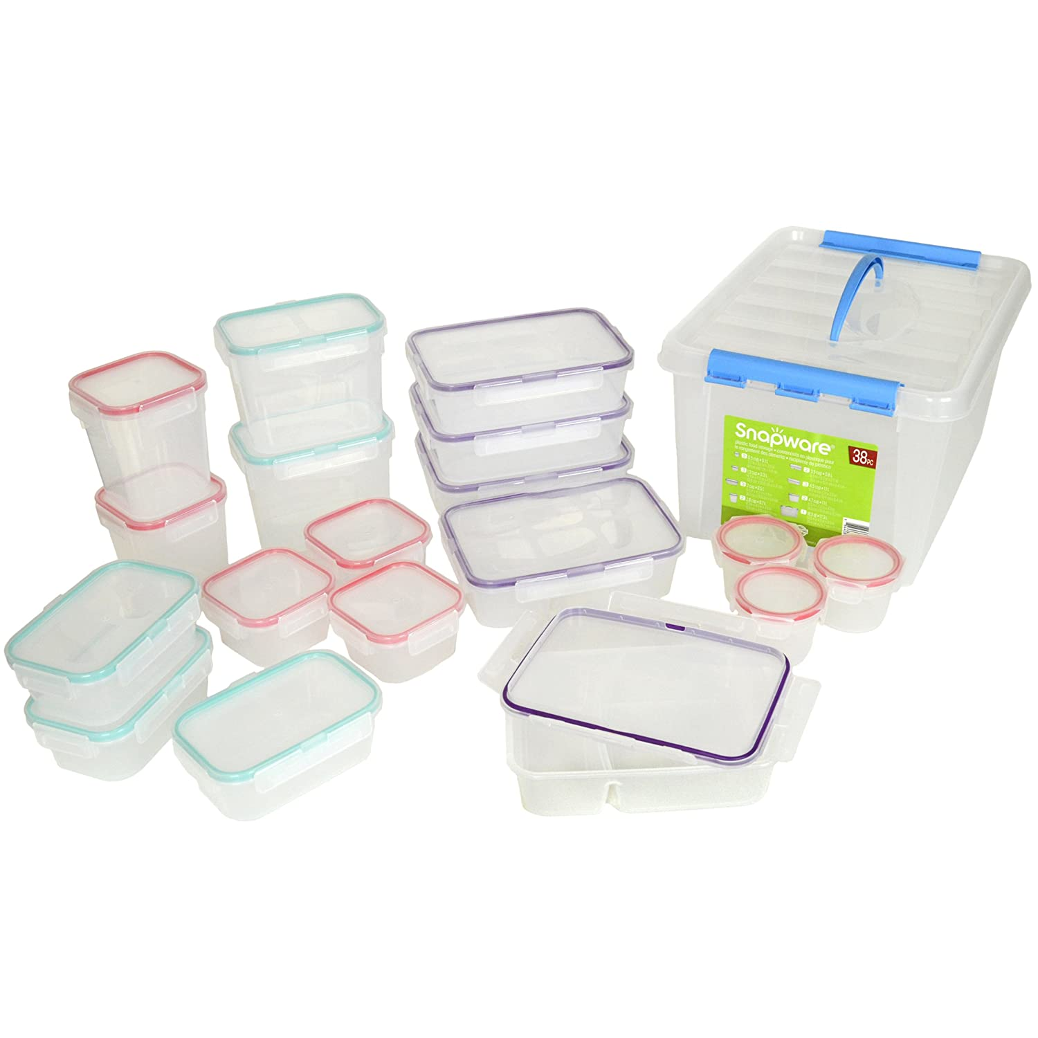 BPA Free Snapware 38 Piece Airtight Plastic Storage Container Set:  Amazon.co.uk: Kitchen U0026 Home