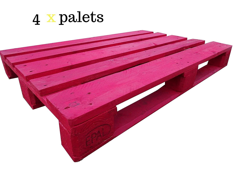 Dydaya 4 Palets Europeos Rojos de 80x120 de Madera Lijados y ...