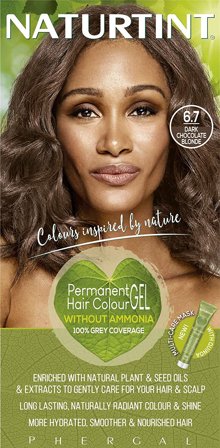 Naturtint Permanent Hair Color 6.7 Dark Chocolate Blonde (Pack of 1), Ammonia Free, Vegan, Cruelty Free, up to 100% Gray Coverage, Long Lasting Results