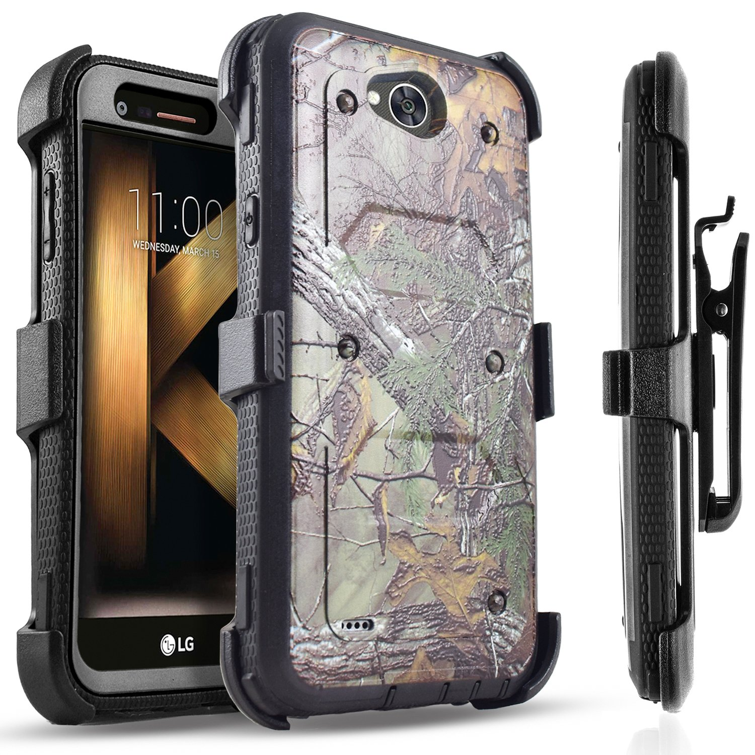 LG X Power 2 Case, LG Fiesta LTE Case, LG X Charge Case, Circlemalls [SUPER GUARD] Dual Layer Hybrid Protective Cover With [Built-in Screen Protector] Holster Belt Clip + Touch Screen Pen Camo