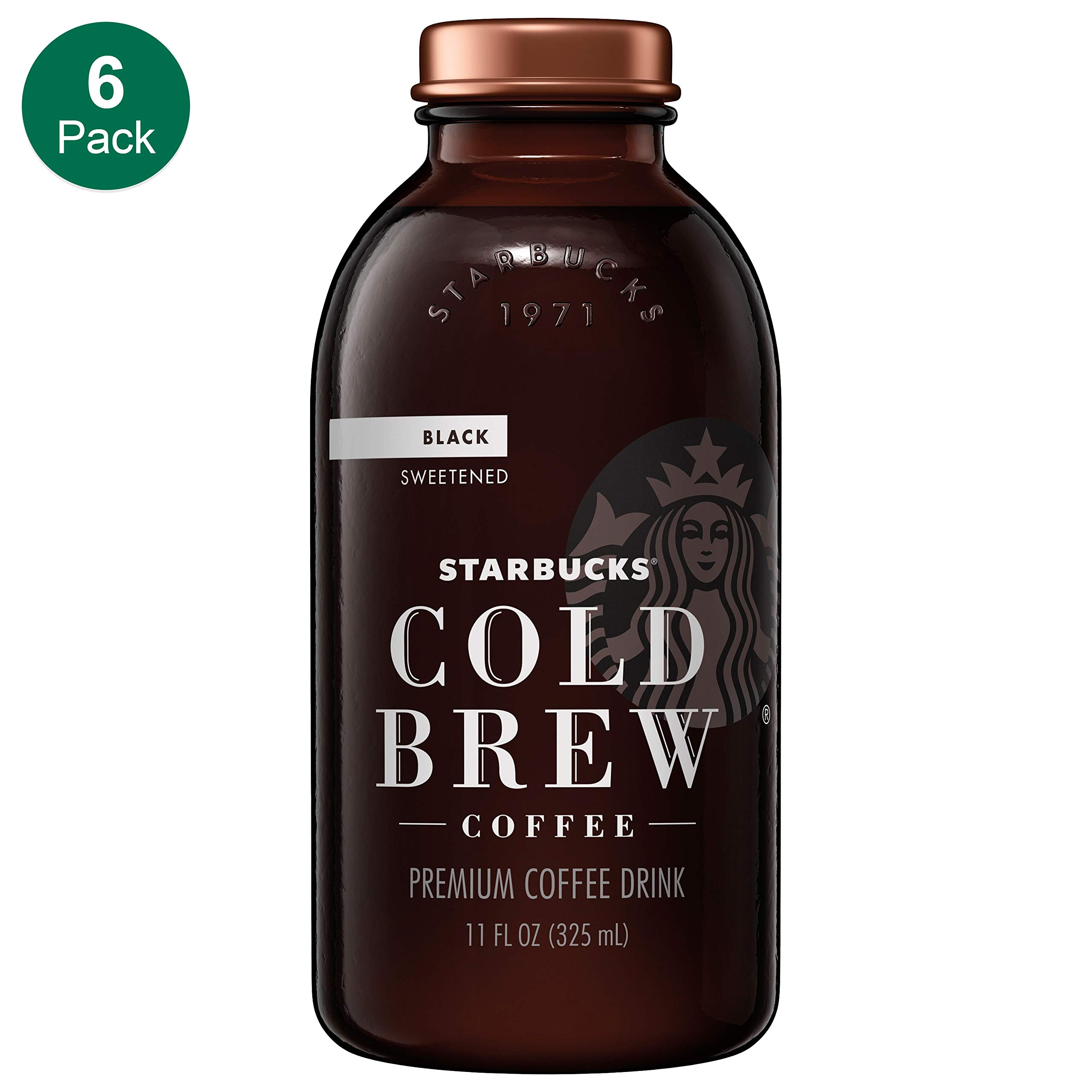 Starbucks Cold Brew Coffee, Black Sweetened, 11 oz Glass Bottles, 6 Count by Starbucks
