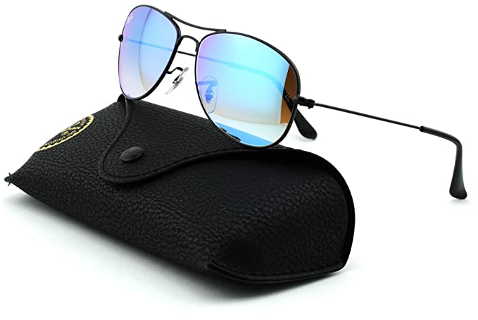 21930f2e7f Amazon.com  Ray-Ban RB3362 Cockpit Unisex Metal Sunglasses (Shiny Black  Frame Blue Lens 002 4O