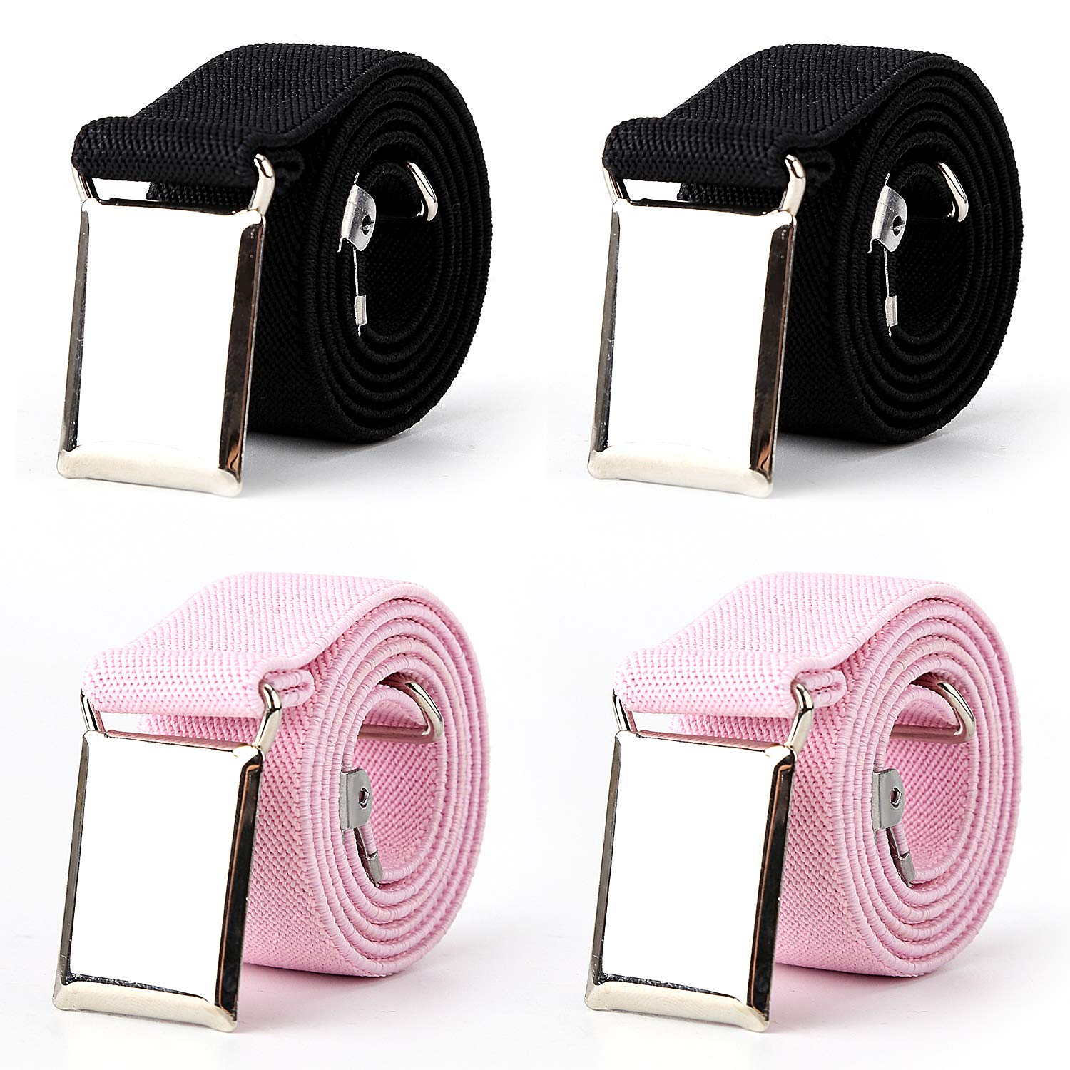 4PCS Kids Boys Adjustable Elastic Belt with Silver Square hook