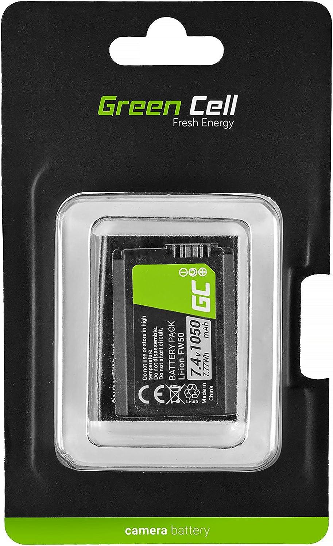 Green Cell® NP-FW50 Batería para Sony Alfa Alpha 7 7R A7 A7R A7S I-II, A3000 A5000 A5100 A6000 A6300, NEX-3 3N 5 5N 5R 5T 6 7 C3 F3, RX10 I-IV, SLT-A33 A35 A37 Cámara, Full Decoded (1050mAh 7.4V)