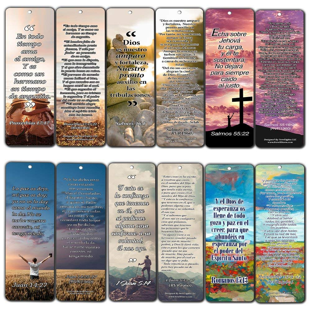 Spanish Bookmarks Cards (60-Pack)- Popular Inspirational Holy Scriptures - War Room Decor by NewEights (Image #1)