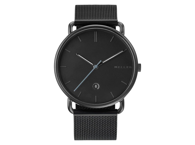 Meller Reloj Analógico para Unisex Adultos de Cuarzo con Correa en Acero Inoxidable 3N-2BLACK: Amazon.es: Relojes