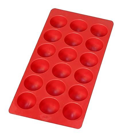 Compra Lékué - Cubitera con Formas de cubito Redondo de Caucho Flexible, 18 cavidades, Color Rojo en Amazon.es