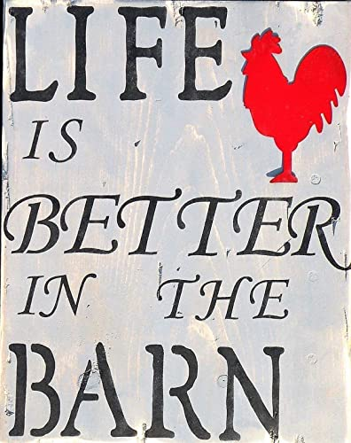 Amazon Com Life Is Better In The Barn Rustic Pine Wood Sign Hand