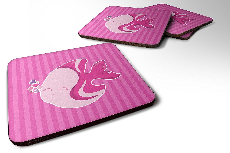 Caroline 's Treasures bb7131fc 4ピンク魚フォームコースターのセットSet of 4、3 1 / 2 x 3 1 / 2、マルチカラー   B06ZYMYSP1