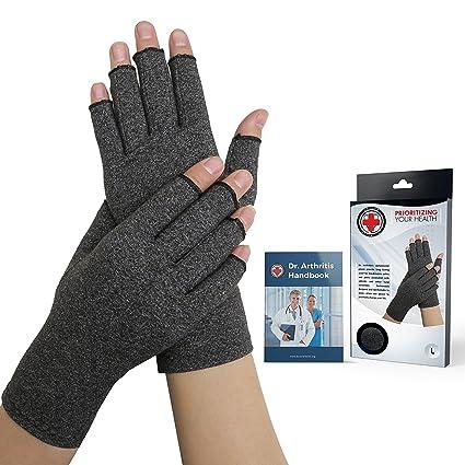 Dr  Arthritis Arthritis Compression Gloves + Doctor Written Handbook (Pair)  (Grey, L)