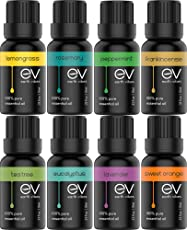 Earth Vibes Aromatherapy Top 8 Essential Oils - 100% Pure, Natural & Therapeutic Grade - Lavender/Frankincense/Eucalyptus/Peppermint/Tea Tree/Rosemary/Orange/Lemongrass - Gift Set Kit for Diffuser