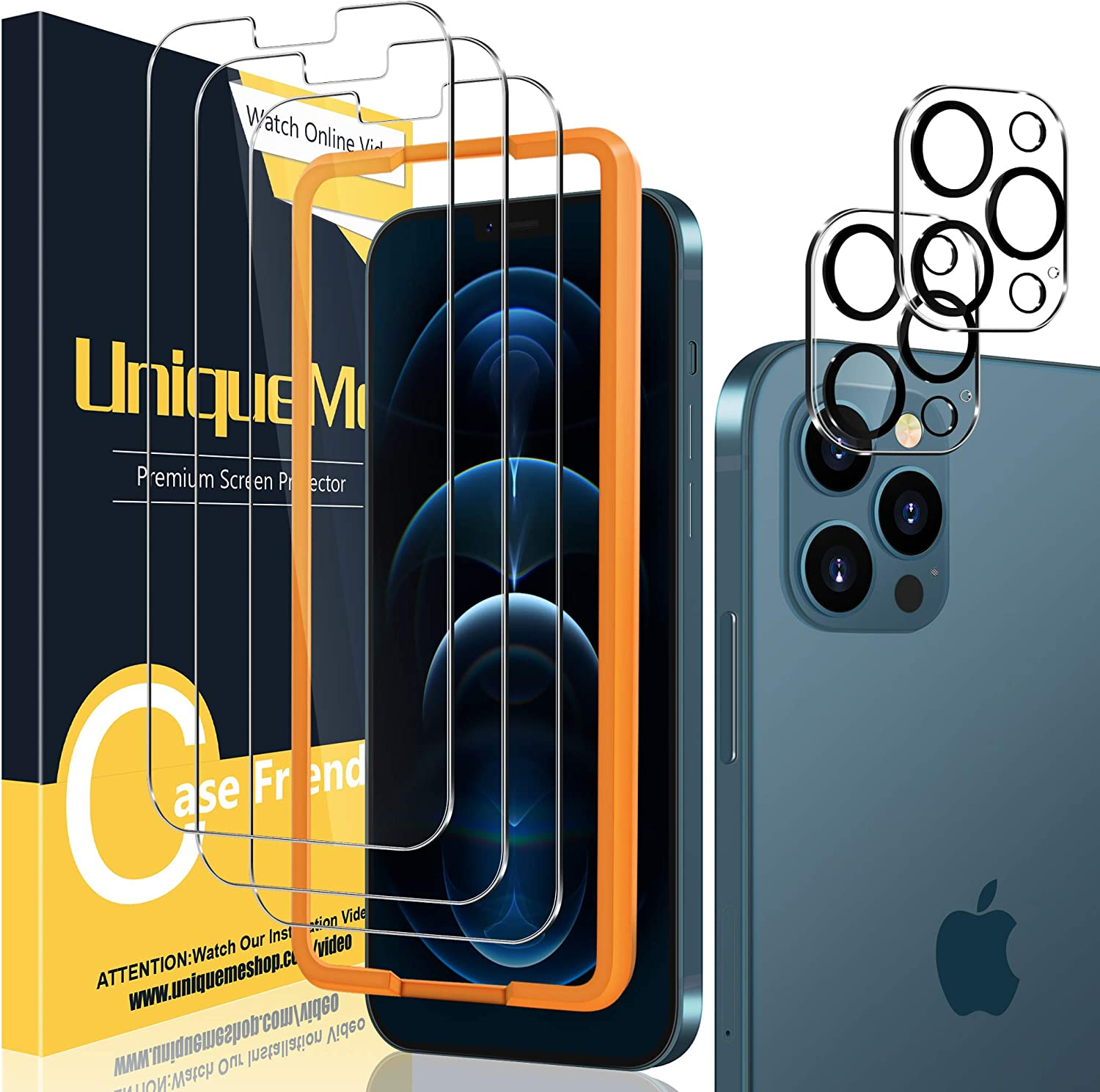 [2+3 Pack] UniqueMe Camera Lens Protector and Screen Protector Compatible with iPhone 12 Pro 6.1 inch Termperd Glass [Easy Installation Frame] HD [Anti-Scratch] [Bubble Free]