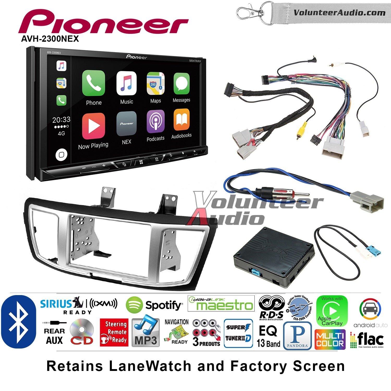 Volunteer Audio Pioneer AVH-2300NEX Double Din Radio Install Kit with Apple CarPlay Android Auto Bluetooth Fits 2013-2017 Honda Accord