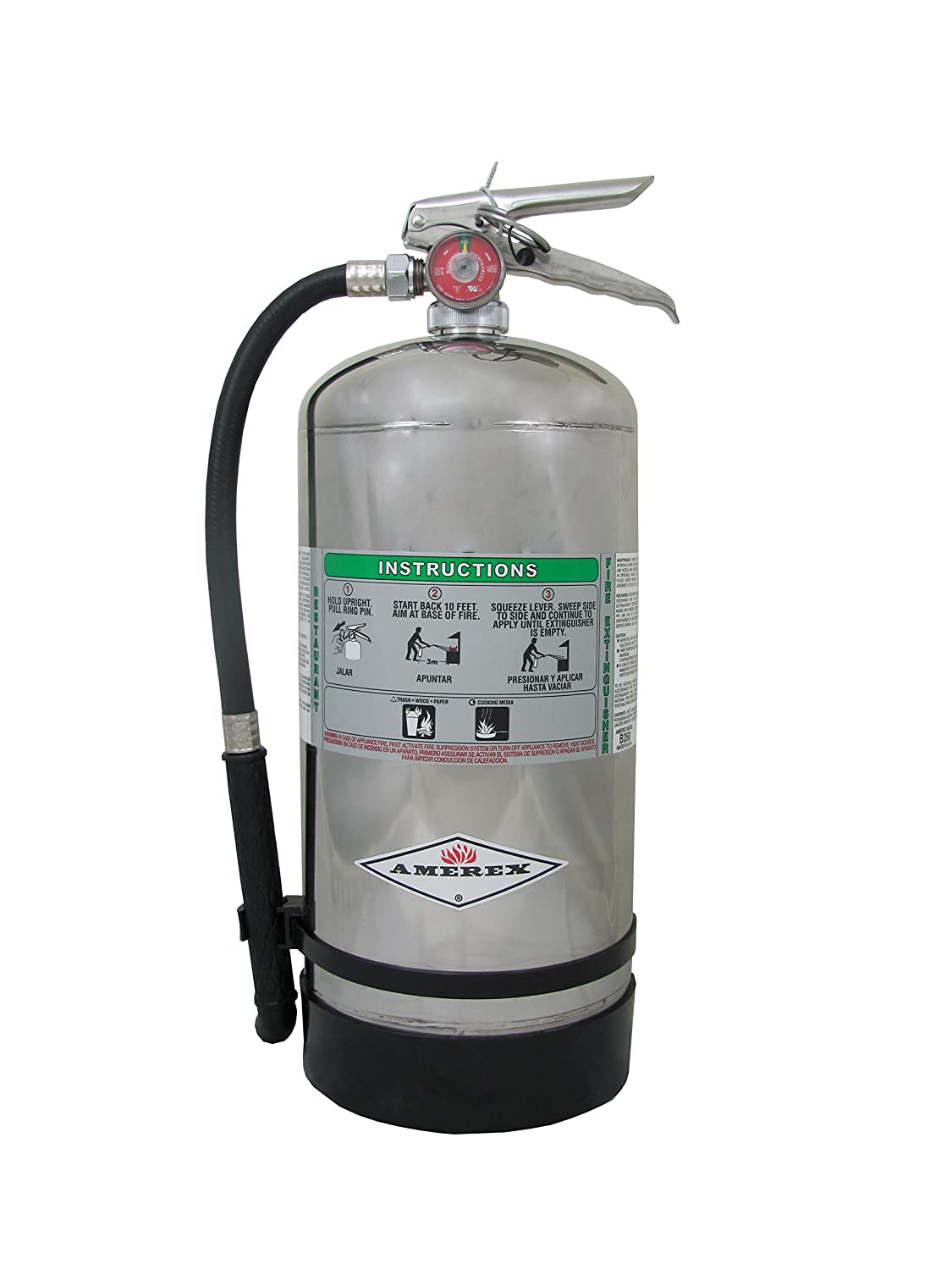 "Amerex B260, 6 LiterWet Chemical Class A K Fire Extinguisher, Ideal For ""KITCHEN USE"""