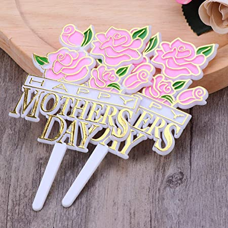 X6 Large-Pink//Lilac Happy Mothers Day Cupcake Toppers//Plant Picks-Mothers Day